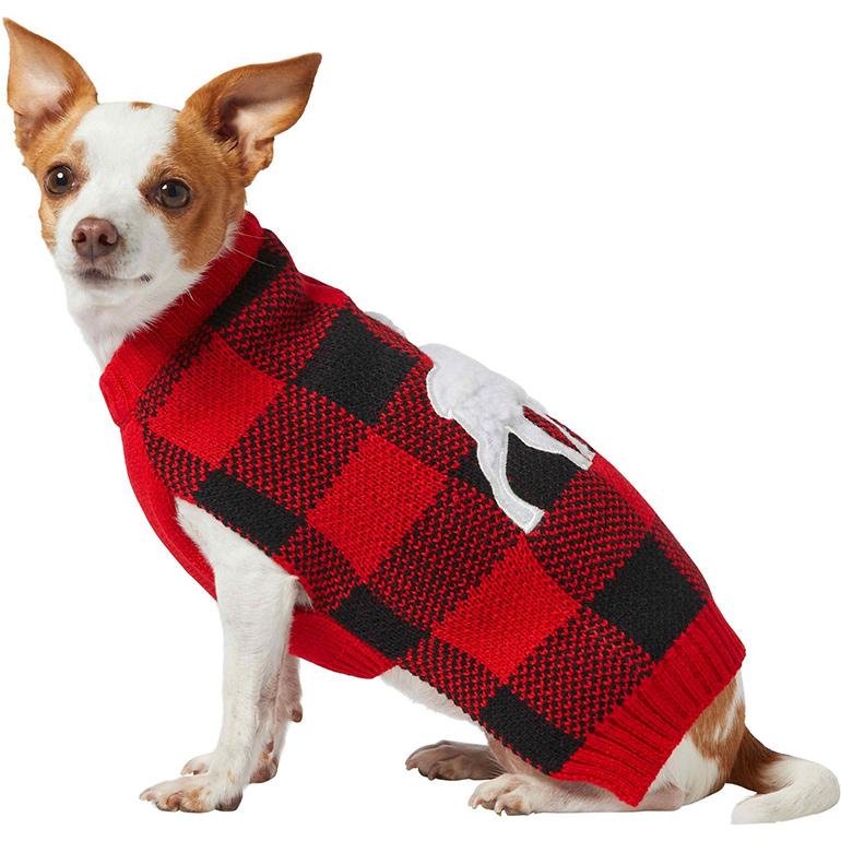 Frisco Plaid Moose Dog & Cat Sweater