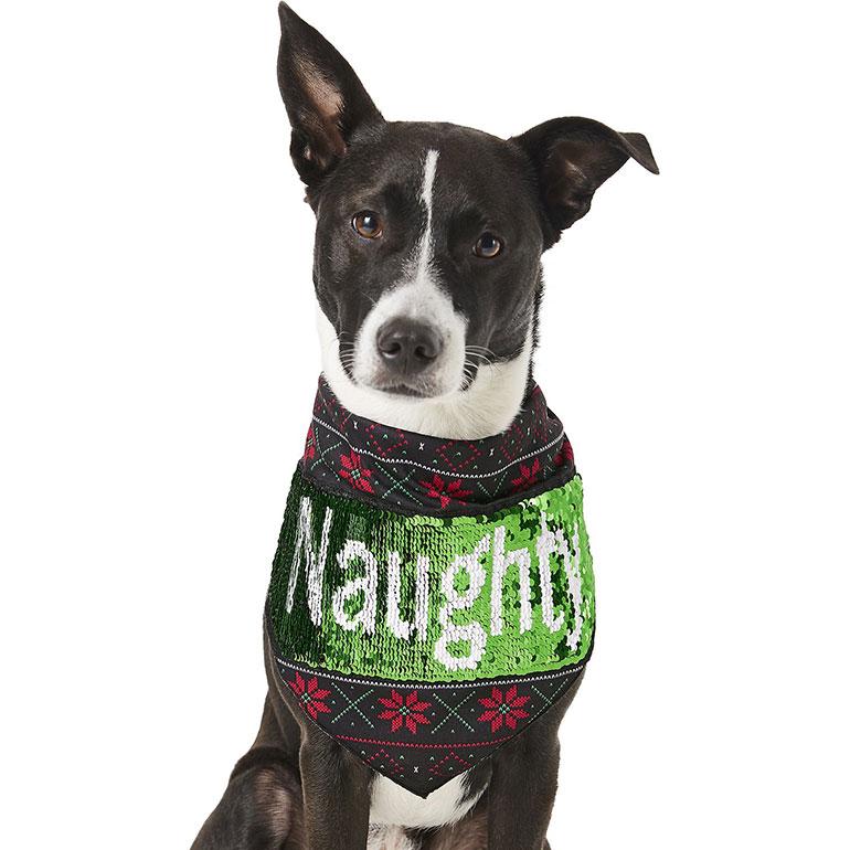 Frisco Flip Sequin Naughty/Nice Dog Bandana