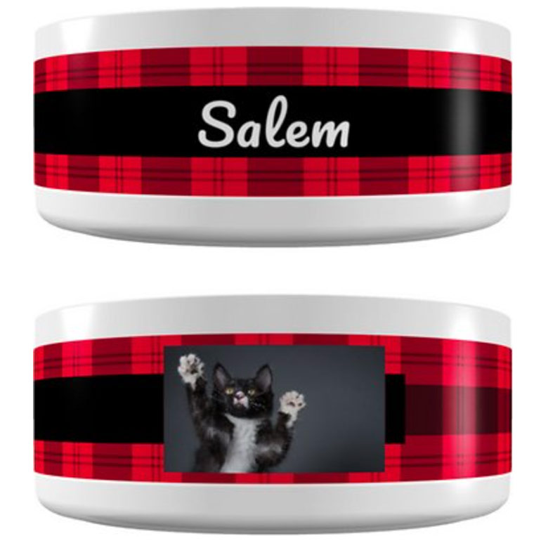 Frisco Personalized Plaid Ceramic Dog & Cat Bowl