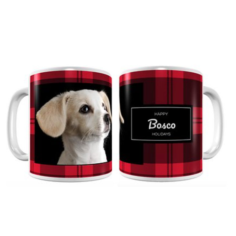 Frisco Personalized Plaid White Coffee Mug