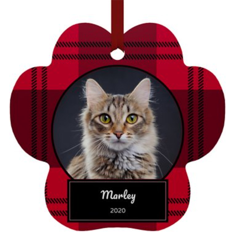 Frisco Personalized Plaid Paw Shape Metal Ornament