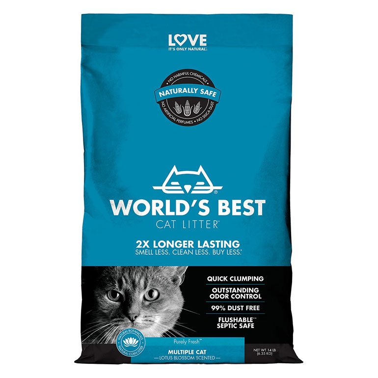 World's Best Multiple Cat Lotus Blossom Scented Clumping Corn Cat Litter