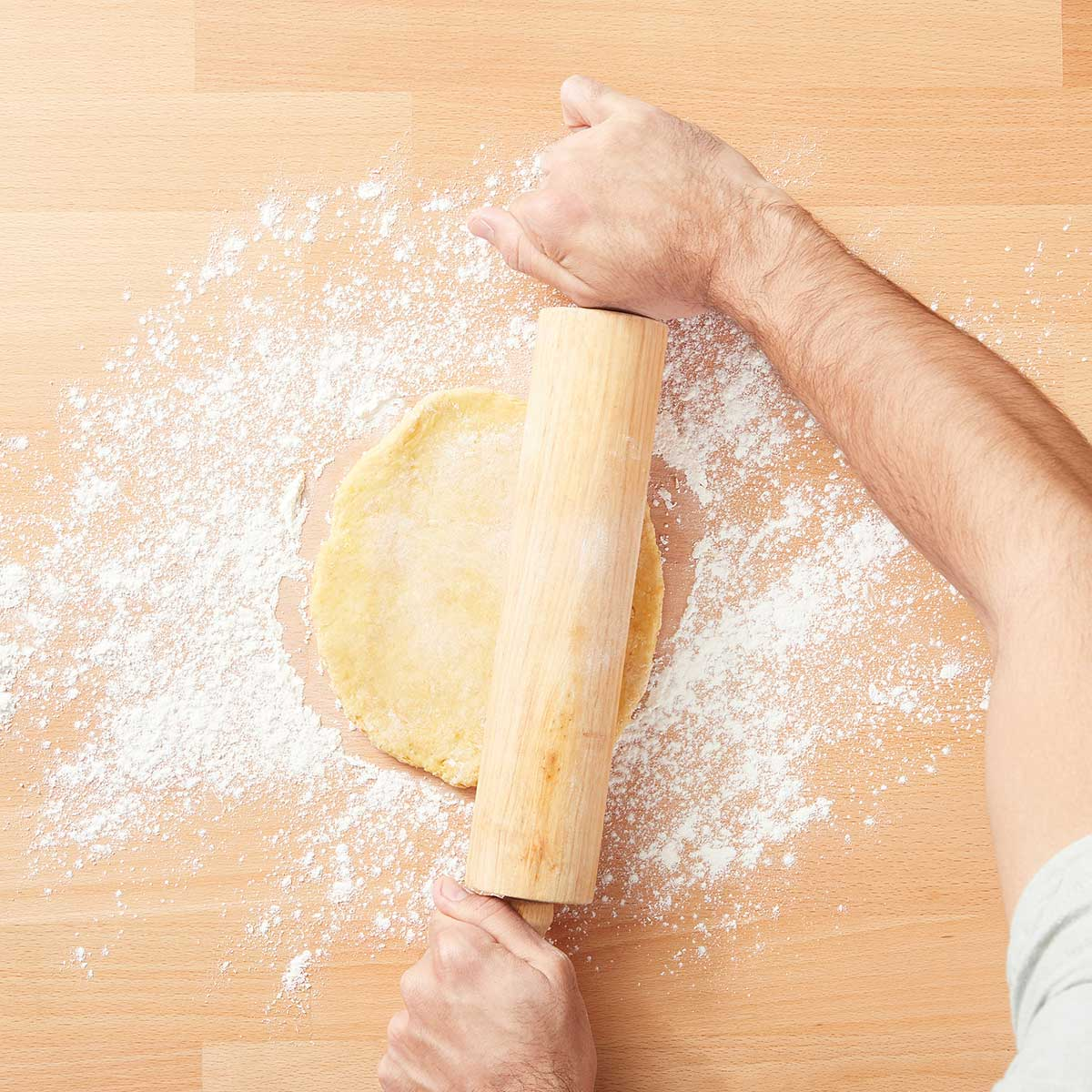 Flatten dough with a rolling pin on a floured surface until the dough is flat and ¼-inch thick.e