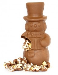 Chocolate Popcorn Stuffed Snowman