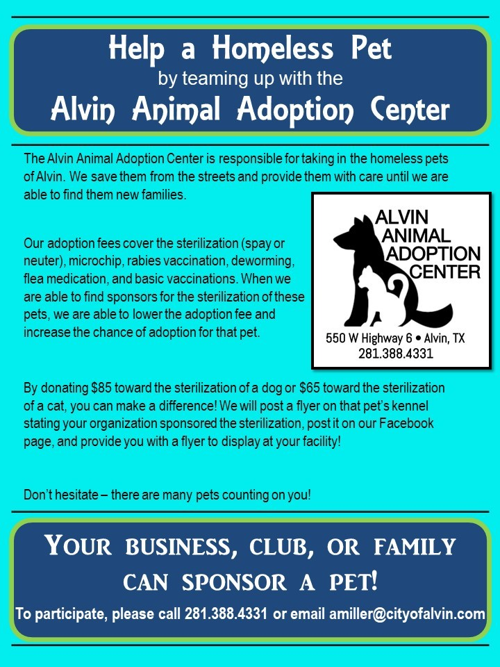 Sponsor a pet today!