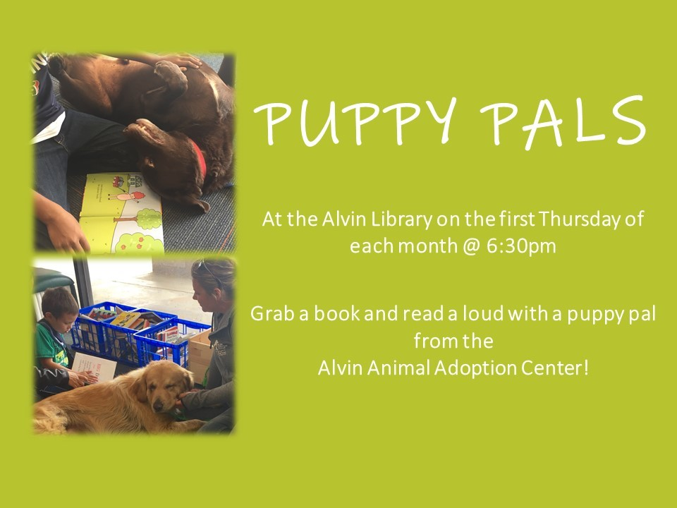 Join us for Puppy Pals at the Alvin Library!