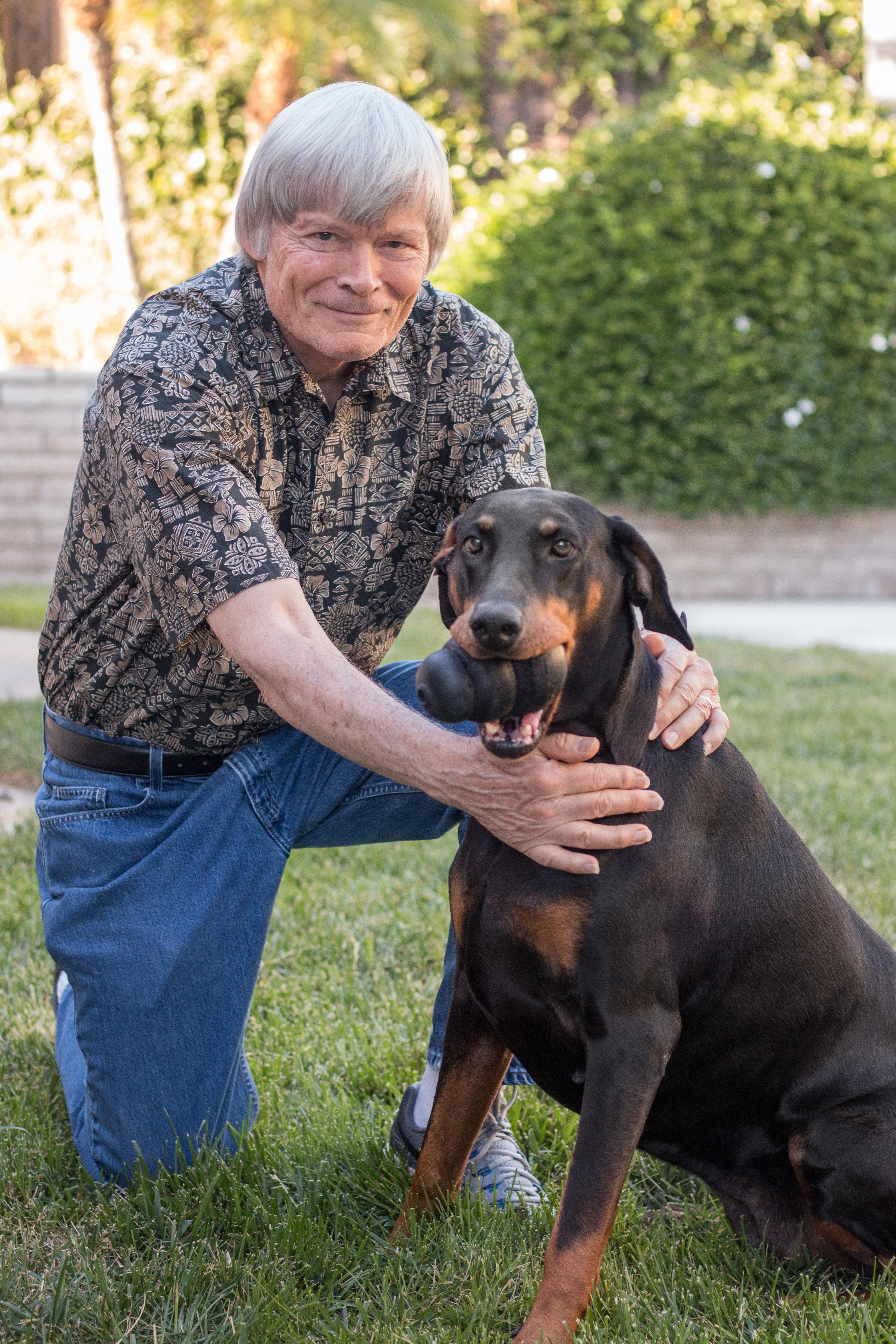 Treasurer Walt Huffman & his beloved Dobie, Tina