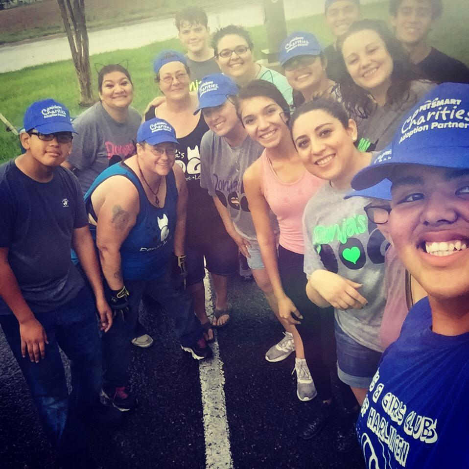 Loyal Volunteers making it through the rain