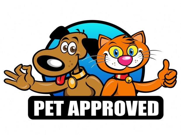 Cat and dog with the words Pet Approved under them