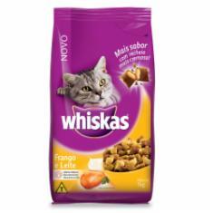 Ração Whiskas para Gatos Adultos Sabor Frango e Leite
