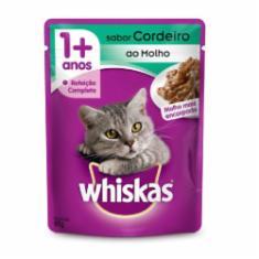 Ração Úmida Whiskas Sachê para Gatos Adultos Sabor Cordeiro ao Molho - 85g