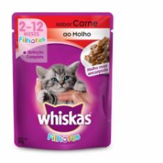 Ração Úmida Whiskas Sachê para Gatos Filhotes Sabor Carne ao Molho - 85g