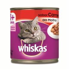 Ração Úmida Whiskas Lata para Gatos Adultos Sabor Carne ao Molho - 290g