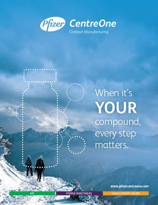 Cover of brochure: 'Pfizer CentreOne Contract Manufacturing • When it's YOUR compound, every step matters.'