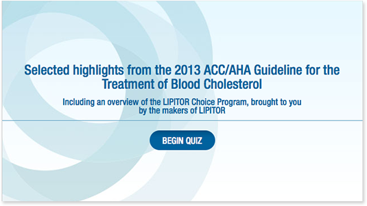 2013 ACC/AHA Guidelines for the Treatment of Blood Cholesterol quiz