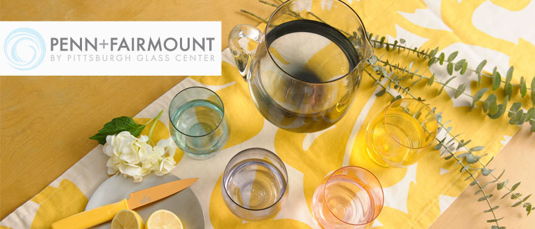 Penn + Fairmount line of handmade glassware by Pittsburgh Glass Center