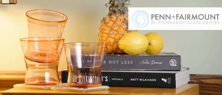 Penn + Fairmount line of glassware by Pittsburgh Glass Center