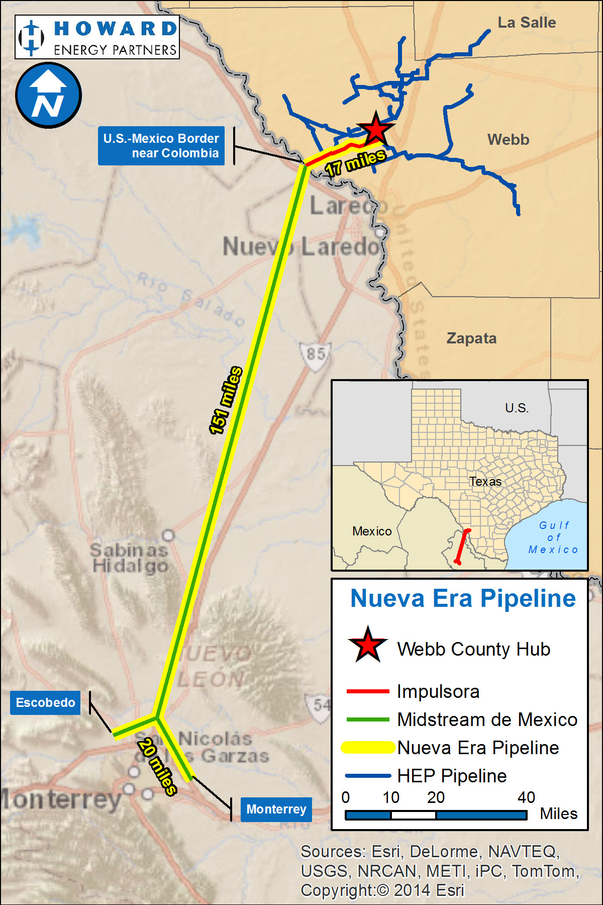 Nueva Era Pipeline system map