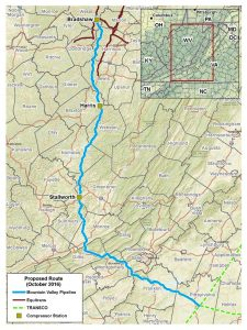 Mountain Valley Pipeline Map. Photo courtesy of Mountain Valley Pipeline, LLC.