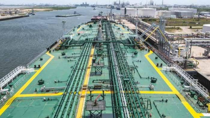 A Suezmax tanker at Corpus Christi. (source: Trafigura)