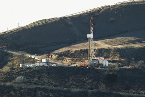 Equipment and machinery on a ridge above a natural gas well known as SS25 in Southern California Gas Company's vast Aliso Canyon facility.