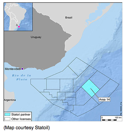 Statoil is acquiring a 15% interest in Block 14, offshore Uruguay.