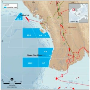 Woodside's latest well has proved natural gas at the far northern end of its project area in the Myanmar offshore. (Map by Woodside Energy)