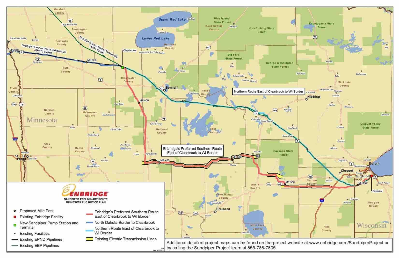 sandpiper pipeline route