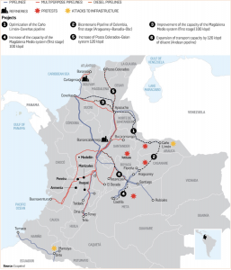Ecopetrol subsidiary Cenit is investing close to $4 billion to expand the capacity of six of Colombia's major crude oil pipelines. (Map courtesy of Ecopetrol S.A.)