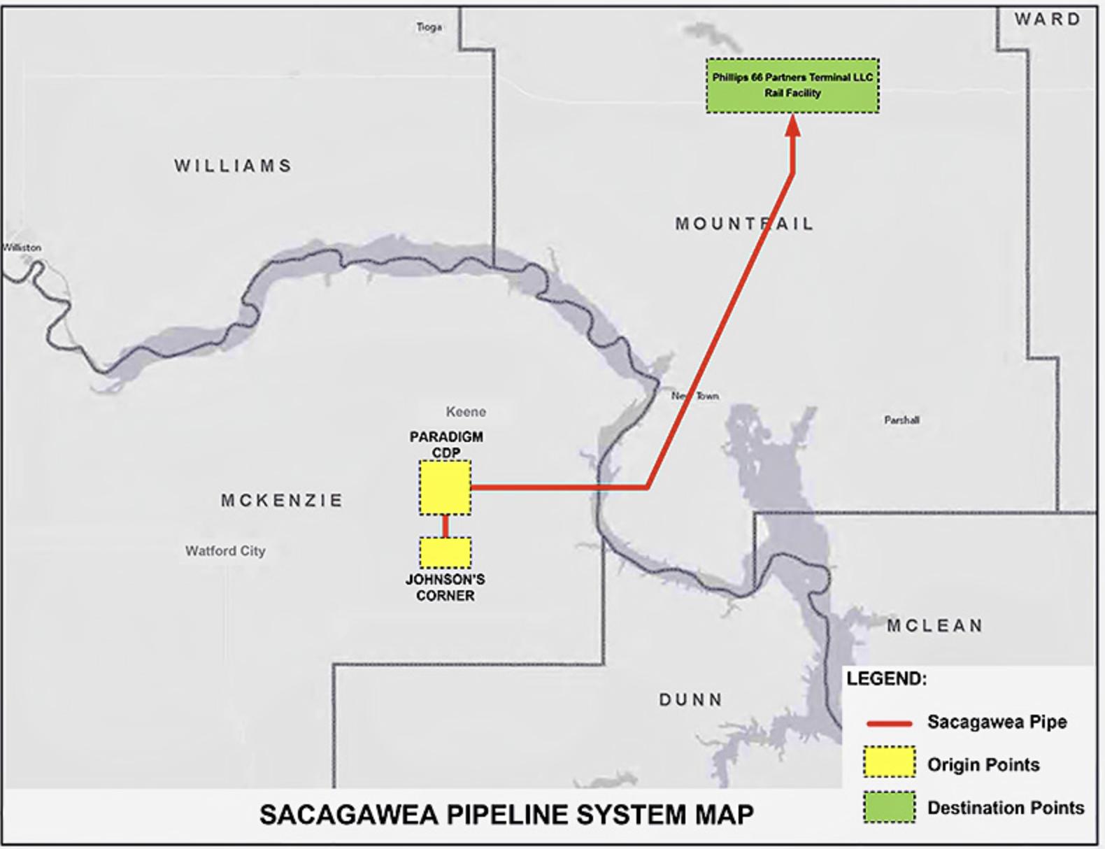 Sacagawea Pipeline map