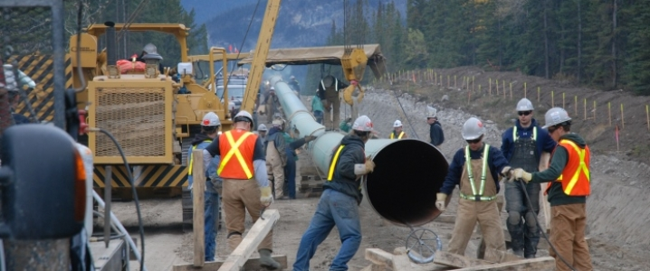 Work on a pipeline construction project being done