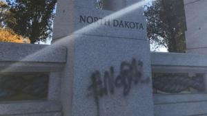 Graffiti on the North Dakota portion of the World War II Memorial in Washington D.C. Photo via Facebook