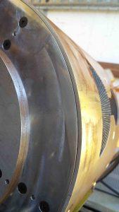 Sanding wheel on drum