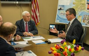 Alaska Gasline Development Corporation President Keith Meyer Discusses the Alaska LNG Project with US Vice President Mike Pence. Photo courtesy of Alaska Gasline Development Corp.