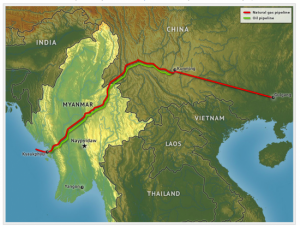 China's new crude pipeline (green line) runs 770 kilometers from the Myanmar port of Kyaukphyu all the way to Kunming