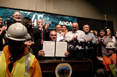 Ryan Zinke, Secretary of the Interior, signs  secretarial order to jump-start Alaskan energy production.  Photo courtesy of the U.S. Department of the Interior.