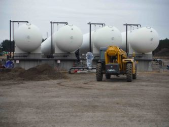 Pipeline-supplied midstream propane terminals feature a battery of large storage containers, usually ranging from 30,000 to 90,000 gallons based on storage needs.