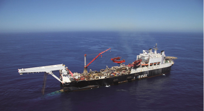 Solitaire is the largest Allseas' pipelay vessels with  a pipe carrying capacity of 22,000 tons.  Credit: Allseas