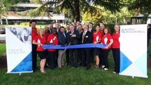 The Greater Vancouver Chamber of Commerce helped celebrate Burns & McDonnell's expansion in Vancouver, Washington, with a ceremonial ribbon cutting at the firm's new location. Photo by the Greater Vancouver Chamber of Commerce.