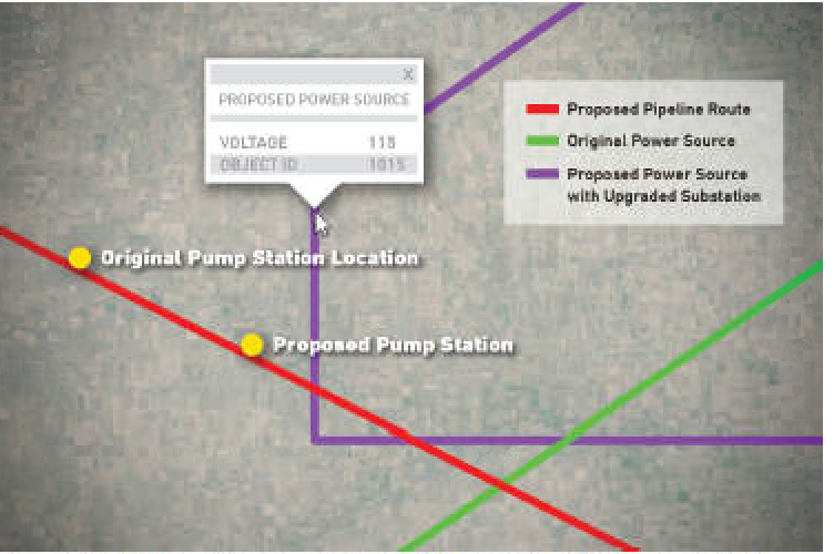 After considering the location and voltage of power lines and substations, survey and design teams proposed a new pipeline route.