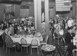 Attendees of the first NACE annual banquet at the 1945 Corrosion conference. In the early years, NACE focused solely on oil and gas pipeline corrosion, later branching out into all areas of corrosion control.