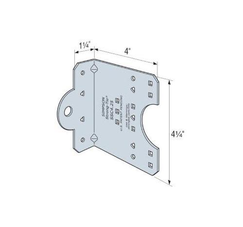 1 1/4 in x 4 in x 4 1/4 in x 14 Gauge 68 mil Simpson Strong-Tie SSC Steel-Stud Connector