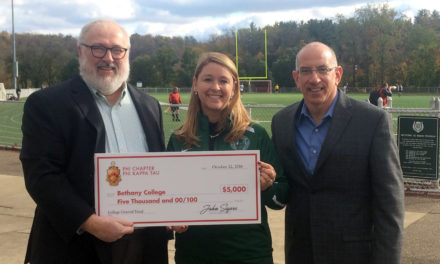 Phi Chapter Presented Bethany College with $5,000