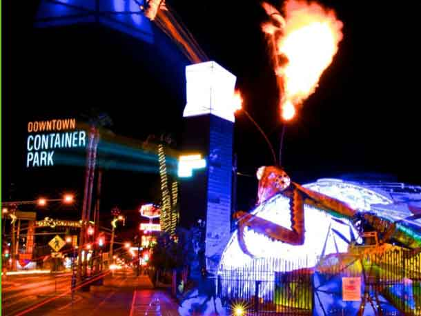 Container Park's Fire Breathing Praying Mantis Sculpture