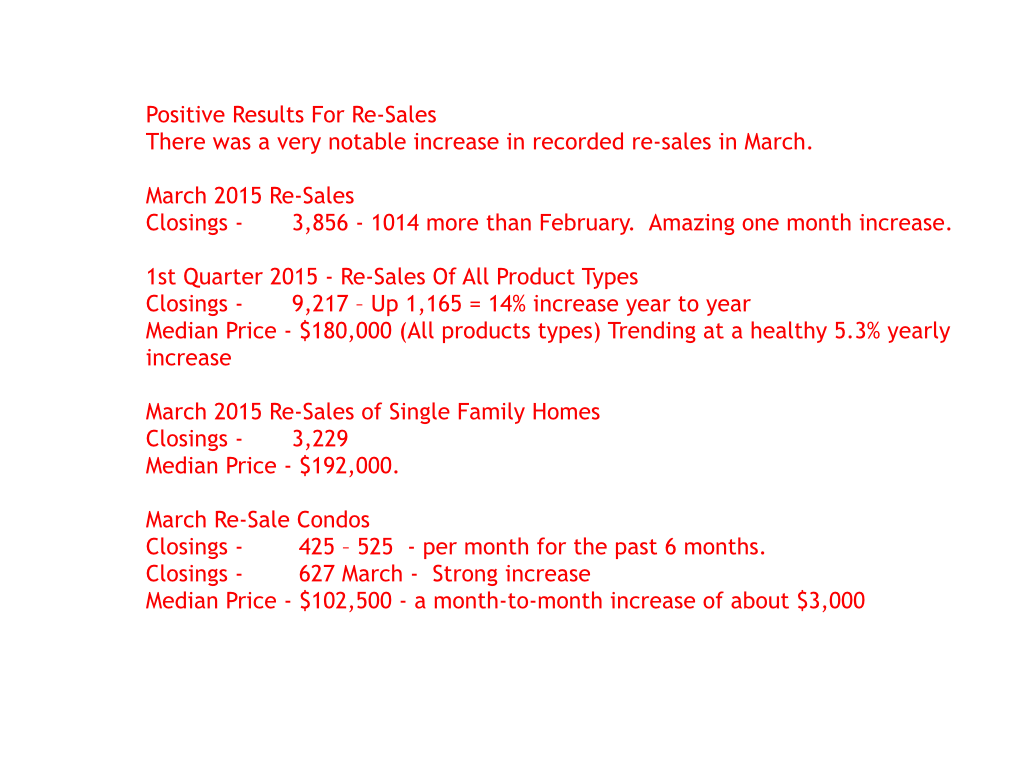 RESALE FIRST QUARTER