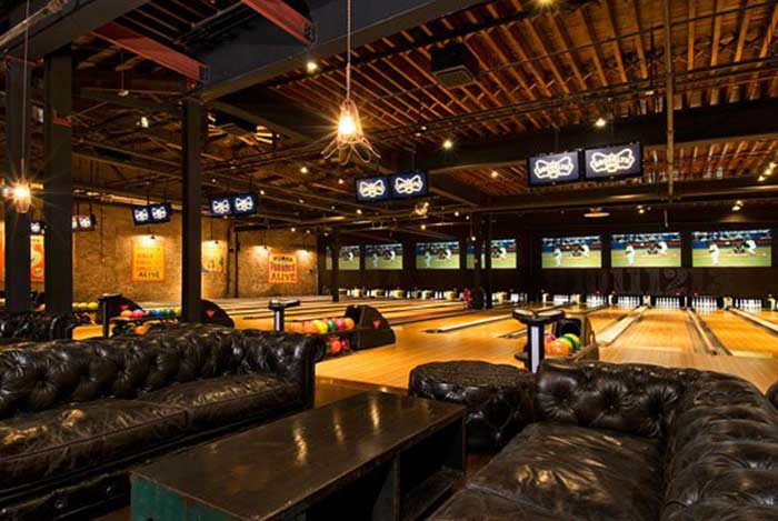 Brooklyn Bowl's bowling alley in the Quad