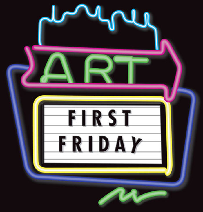 Neon sign of First Friday Art