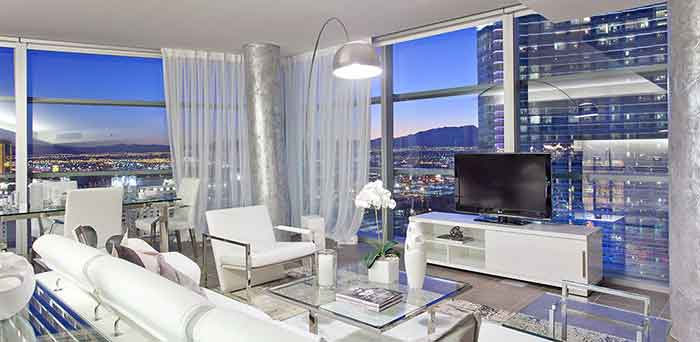 high rise living room with view