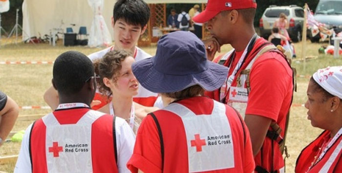 Youth volenteers having a meeting for the Red Cross