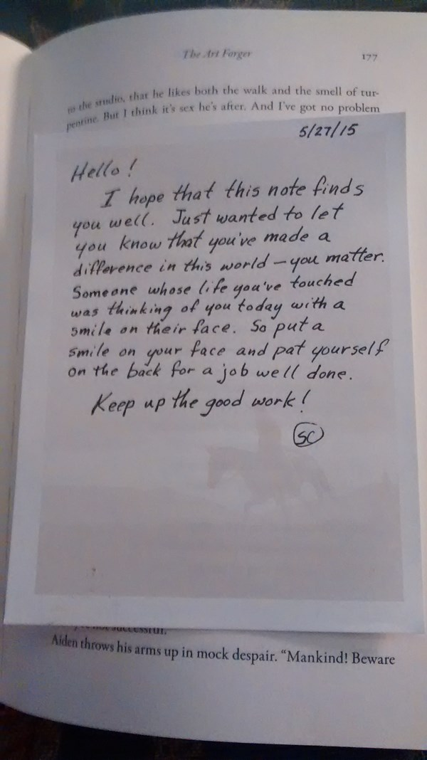 Leave an inspirational note inside a book for someone to